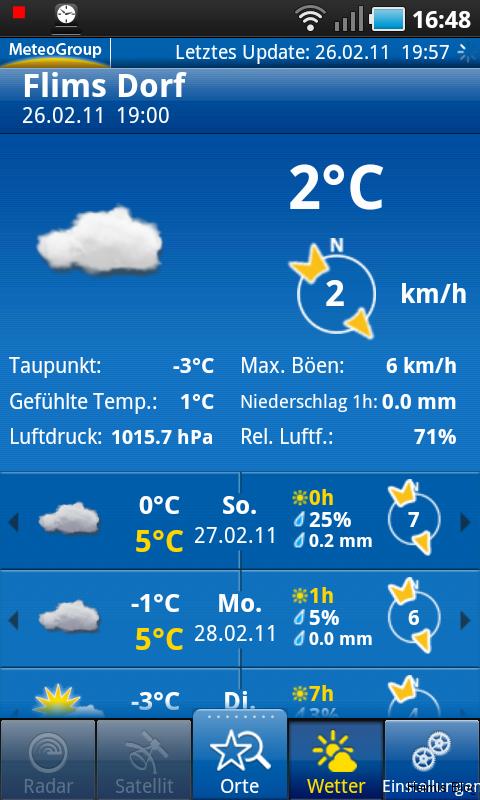 Hauptseite WeatherPro