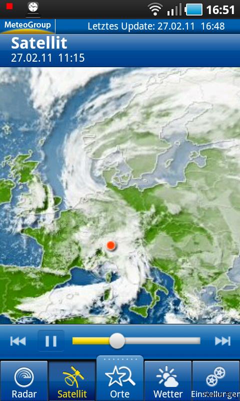 Satelittenfilm Wolkenentwicklung