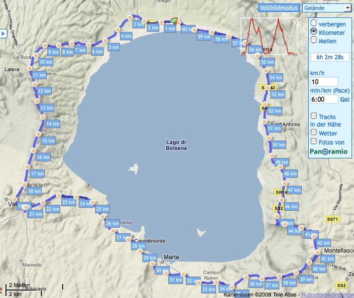 Die Tour um den See bei GPSIES.com