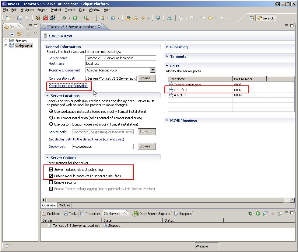 Der Konfigurationsdialog für den Server