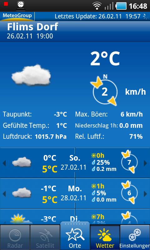 Startbildschirm von WeatherPro